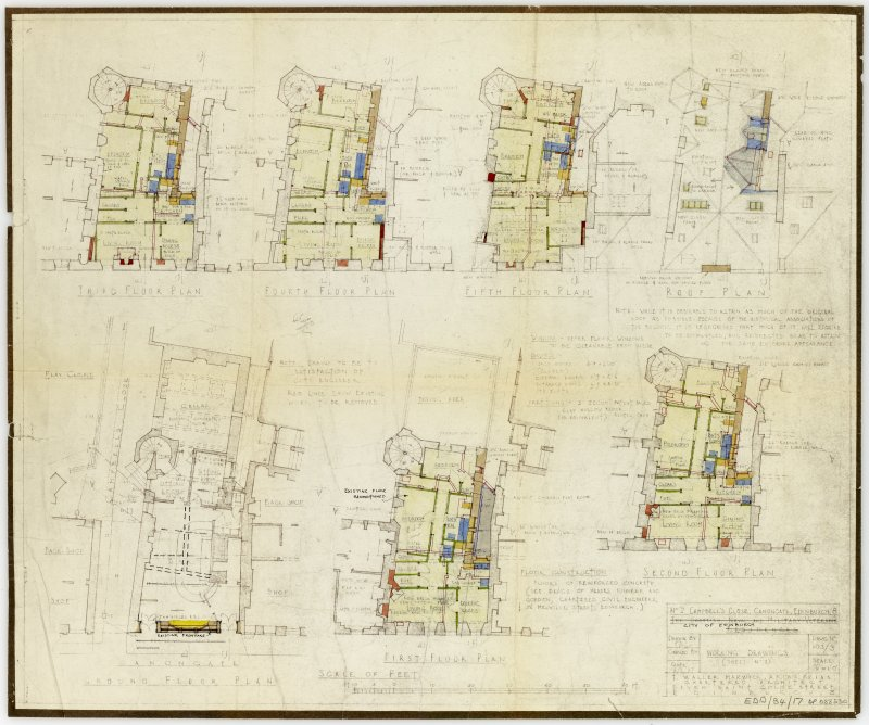 Annotated floor plans of 2 Campbell's Close.  Working plans for restoration.