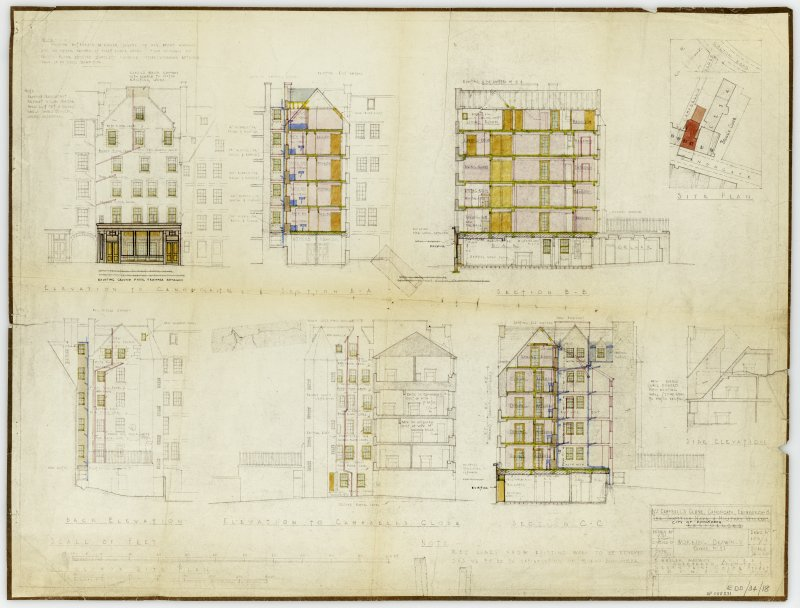 Annotated elevations and sections of 2 Campbell's Close.  Working plans for restoration.