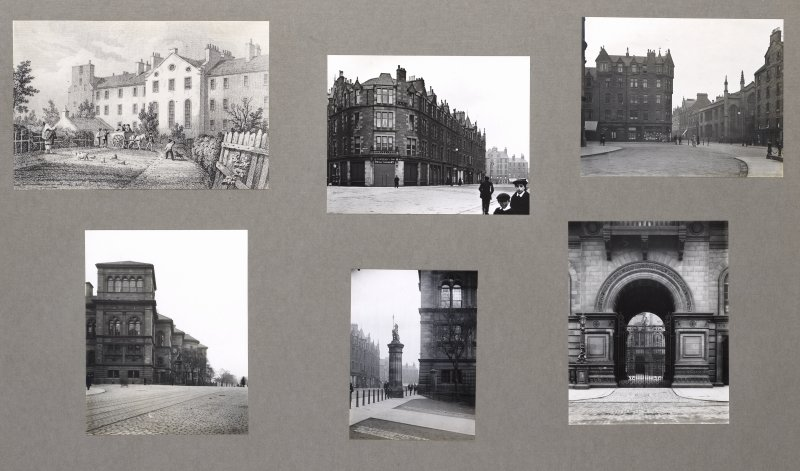 Card folder containing photographs and an old print of Forrest Road and Teviot Place. Front cover has pencil notes describing the photographs inside. Edinburgh Photographic Society Survey of Edinburgh District, Ward XIV, George Square.