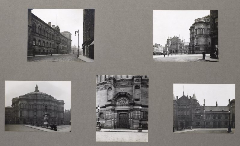 Card folder containing photographs of Teviot Place, McEwan Hall and Edinburgh University Union. Front cover has pencil notes describing the photographs inside. Edinburgh Photographic Society Survey of Edinburgh District, Ward XIV, George Square.