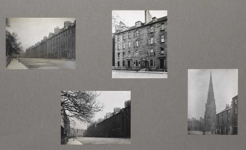 Card folder containing photographs of Buccleuch Place and Buccleuch U.F. Church. Front cover has pencil notes describing the photographs inside. Edinburgh Photographic Society Survey of Edinburgh District, Ward XIV George Square.