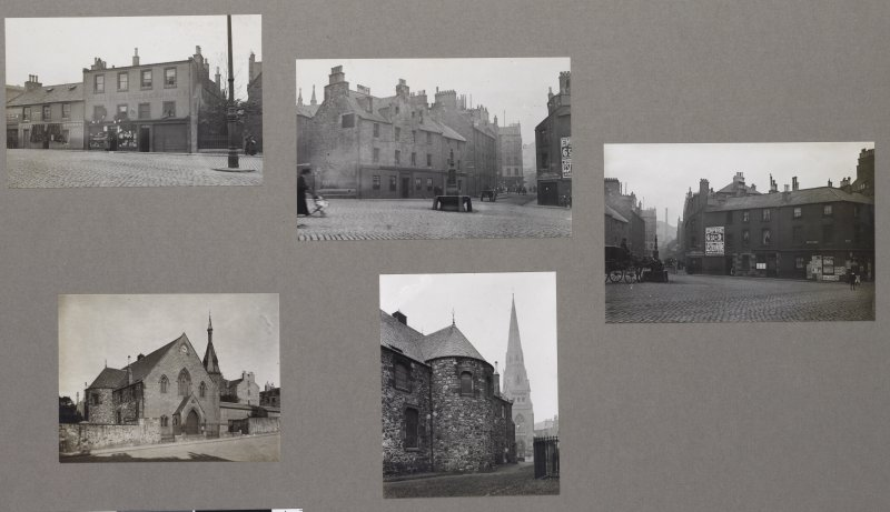 Card folder containing photographs of Crosscauseway (Goosedubs) and Buccleuch Parish Church. Front cover has pencil notes describing the photographs inside. Edinburgh Photographic Society Survey of Edinburgh District, Ward XIV George Square.