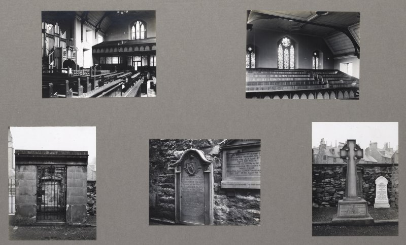 Card folder containing photographs of Buccleuch Parish Church and Churchyard.  Front cover has pencil notes describing the photographs inside. Edinburgh Photographic Society Survey of Edinburgh District, Ward XIV George Square.