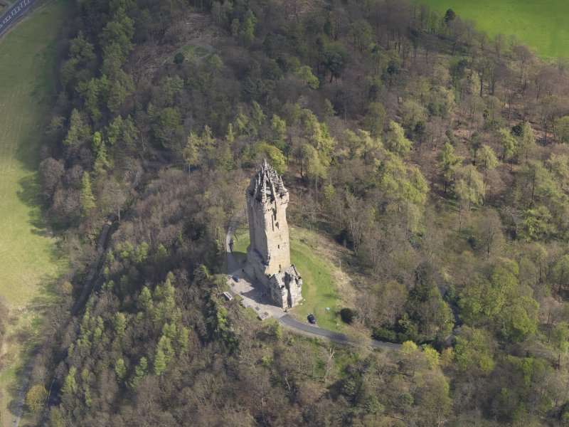 Oblique aerial view of the Wallace Monument, taken from the NW.