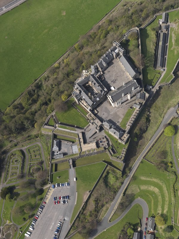 Oblique, almost vertical aerial view of the Stirling Castle centred on the Great Hall showing the outer defences, taken from the ESE.