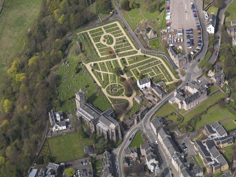Oblique, aerial view of the Holy Rude Church and Cemetery, taken from the SW.