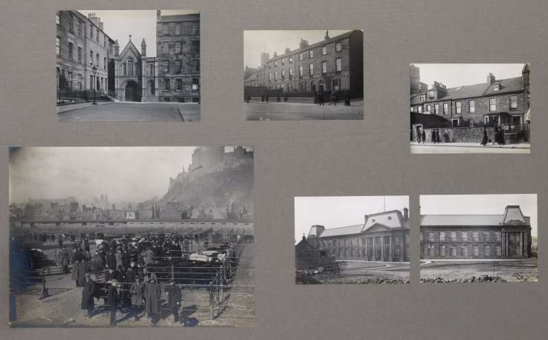 Card folder containing photographs of Keir Street and of Lauriston Place showing the Old Cattle Market and the College of Art built on its site. Front cover has pencil notes describing the photographs inside. Edinburgh Photographic Society Survey of Edinburgh District, Ward XIV George Square.