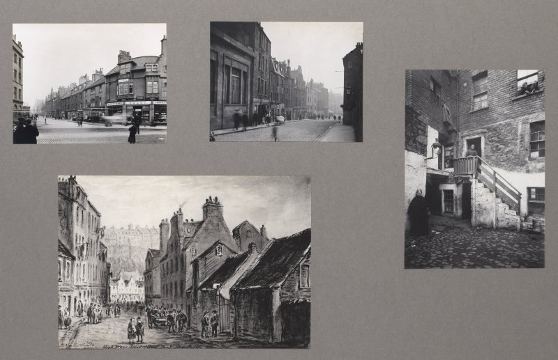 Card folder containing photographs of Fountainbridge and High Riggs. Front cover has pencil notes describing the photographs inside. Edinburgh Photographic Society Survey of Edinburgh District, Ward XIV George Square.