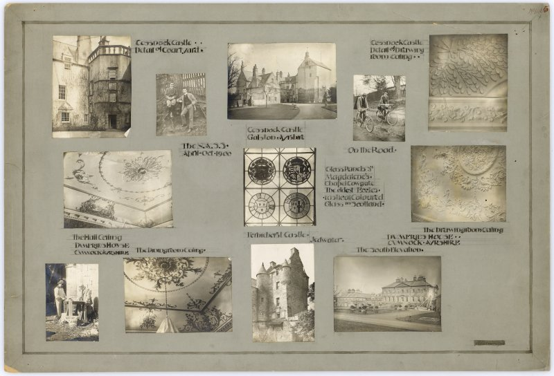 Twelve survey photographs showing Cessnock Castle, Dumfries House, glass panel from Magdalene's Chapel, Ferniehirst Castle and the surveyors on bicycles. Titled: 'N.A.S.S April-Oct 1900'.
