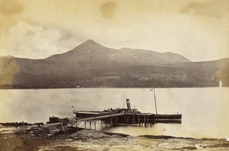 View from SE. Titled: 'Brodick Pier and Goatfell, Arran. 1771. J.V'.