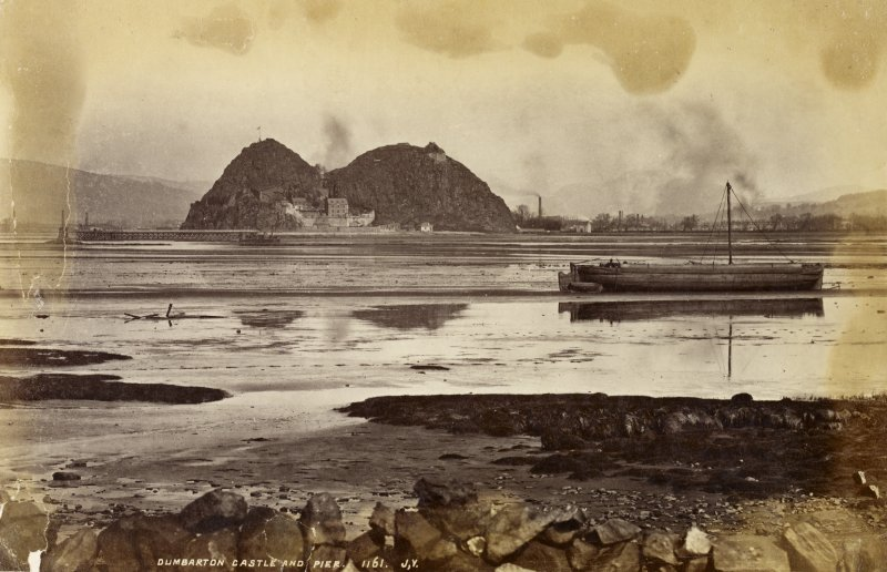 View from South-West. Titled: 'Dumbarton Castle and Pier. 1161. J.V'.