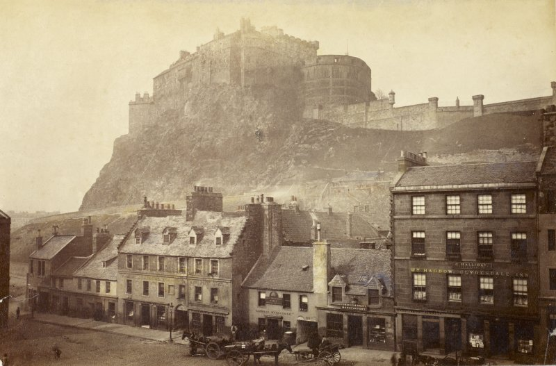 View of the northside of the Grassmarket, Edinburgh, nos 4-28 with the Castle in the background Photograph Album 87  The Strang Collection, Dunearn