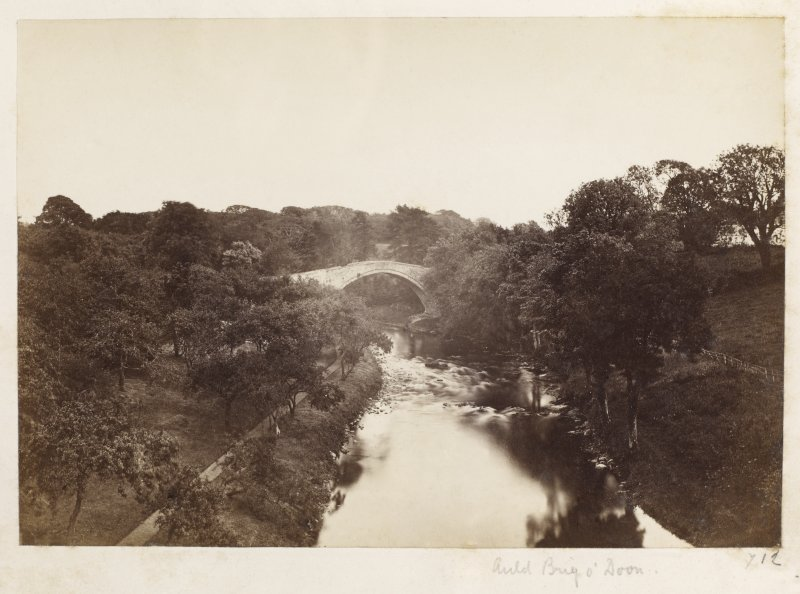 Page 3/5. General view of old bridge, Doon. Titled 'Auld Brig O' Doon.' PHOTOGRAPH ALBUM NO 146 : THE ANNAN ALBUM Page 3/5