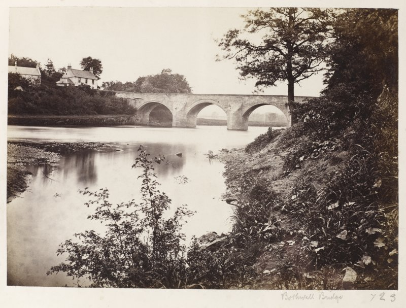 Page 5/4.  View of Bothwell Bridge from South. Titled 'Bothwell Bridge.' PHOTOGRAPH ALBUM 146:  THE ANNAN ALBUM Page 5/4