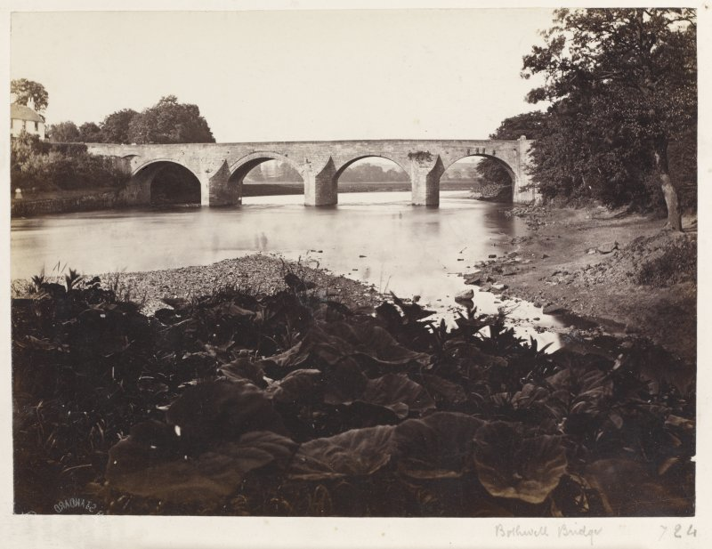 Page 5/5.  View of Bothwell Bridge from South-West. Titled 'Bothwell Bridge.' PHOTOGRAPH ALBUM 146:  THE ANNAN ALBUM Page 5/5