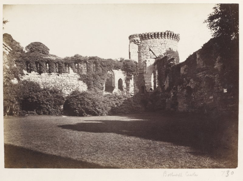 Page 6/5. View looking West from Courtyard, Bothwell Castle. Titled 'Bothwell Castle.' PHOTOGRAPH ALBUM 146: THE ANNAN ALBUM