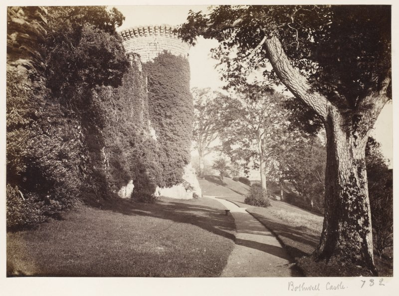 Page 7/1. View from East, Bothwell Castle. Titled 'Bothwell Castle.' PHOTOGRAPH ALBUM 146: THE ANNAN ALBUM Page 7/1