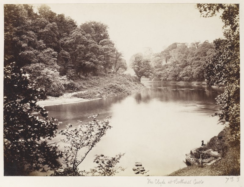 Page 7/2. Distant view from East. Titled 'The Clyde at Bothwell Castle.' PHOTOGRAPH ALBUM 146: THE ANNAN ALBUM Page 7/2