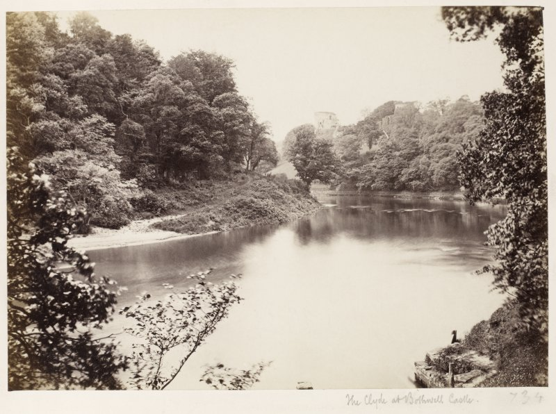 Page 7/3. Distant view from East. Titled 'The Clyde at Bothwell Castle.' PHOTOGRAPH ALBUM 146: THE ANNAN ALBUM Page 7/3