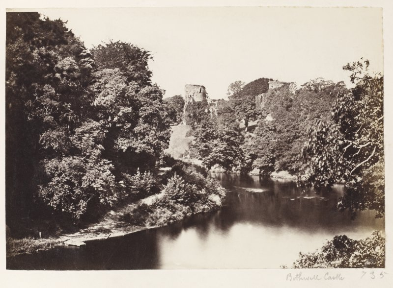 Page 7/4. Distant view of Bothwell Castle from East. Titled 'Bothwell Castle.' PHOTOGRAPH ALBUM 146: THE ANNAN ALBUM Page 7/4