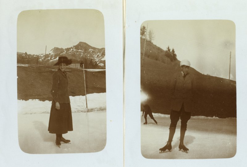 Two photographs of ice skaters