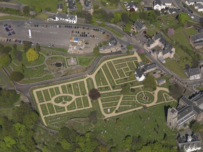 Oblique aerial view of the Holy Rude Churchyard, Stirling, taken from the W.