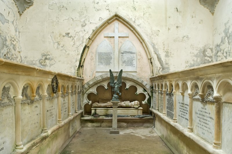 Interior. General view from the North-East of the interior of the Argyll Mausoleum towards the South wall. Two arcaded stone platforms on the side walls (East and West) contain the coffins of the Argyll Campbells. Beneath the arch on the South wall a niche contains the 15th century effigies of Sir Duncan Campbell and his wife, Marjory.