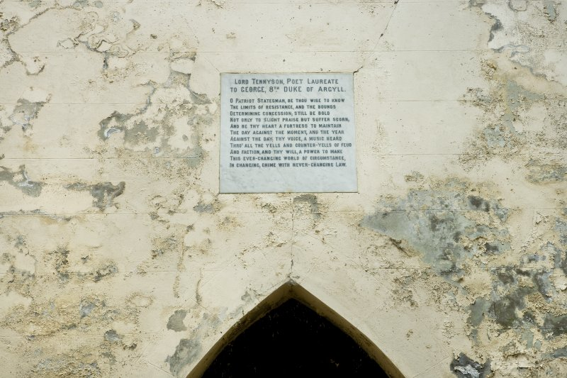 Interior. Detail. View of dedication tablet to Lord Tennyson, poet laureate to George, 8th Duke of Argyll.  Situated above the entrance door, on the North wall of the Argyll Mausoleum.
