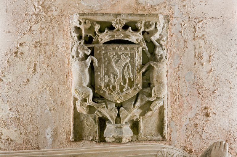 Interior. Detail. View of the armorial tablet, situated on the back wall of a niche within the South wall of the Argyll Mausoleum. The niche also contains the 15th century effigies of Sir Duncan Campbell and his wife, Marjory.