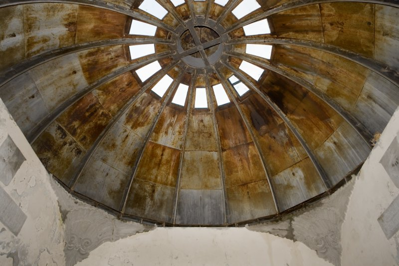 Interior view showing detail of the cast iron domed ceiling of the Argyll Mausoleum, St Munn's Church, Kilmun.