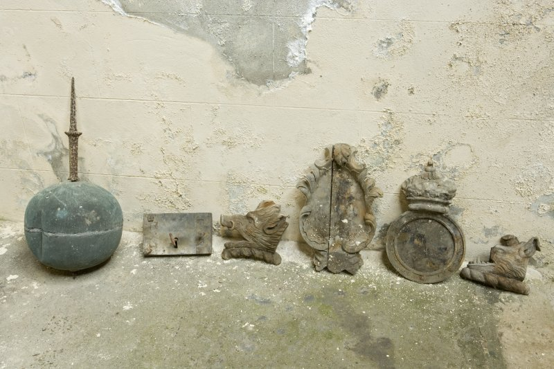 Interior. Detail. Various artifacts situated on the top surface of the stone vault located on the West wall of the Argyll Mausoleum.