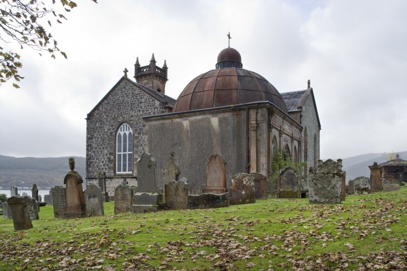 General view of the Argyll Mausoleum from the East with St Munn's Church adjoining.