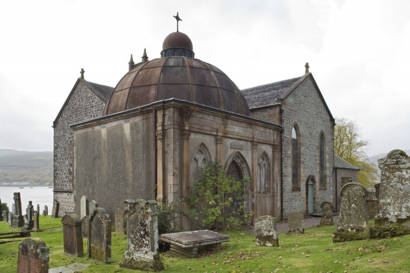 General view of the Argyll Mausoleum from the North-East with the adjoining St Munn's Church also visible.