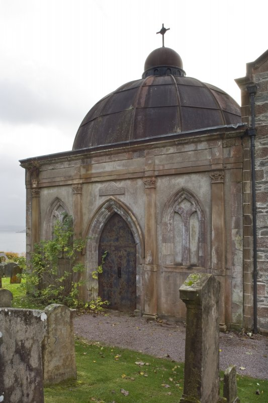 View of North (principal) elevation of the Argyll Mausoleum, Kilmun.