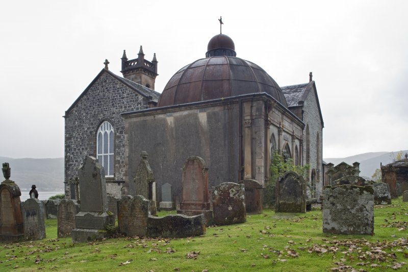 General view of the Argyll Mausoleum from the East with adjoining St Munn's Church, Kilmun in background.