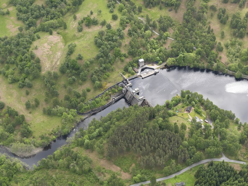 Oblique aerial view of Clunie Dam, taken from the NW.