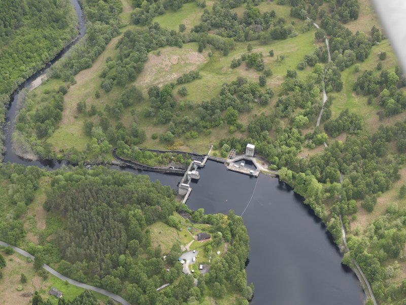 Oblique aerial view of Clunie Dam, taken from the W.