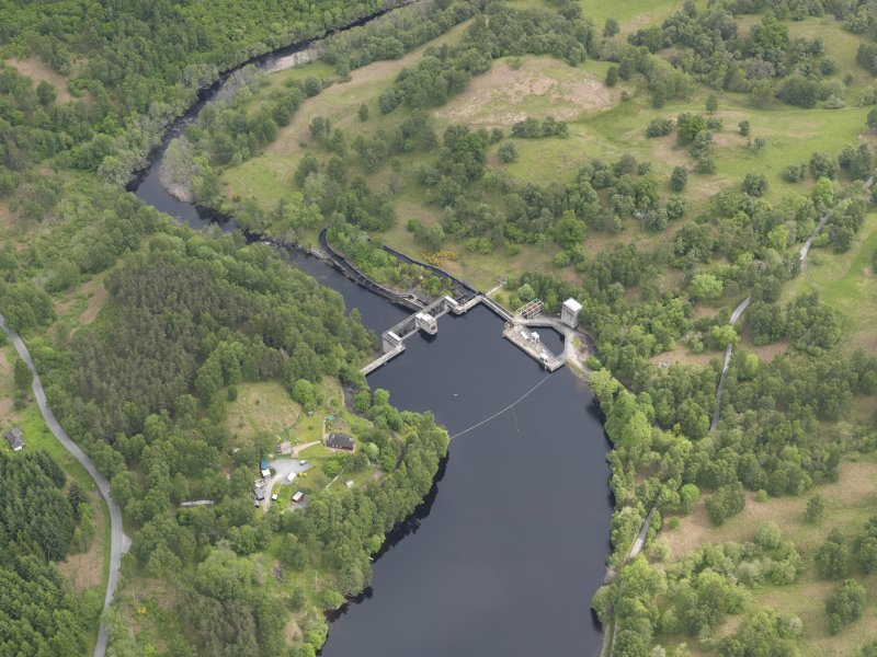 Oblique aerial view of Clunie Dam, taken from the WSW.
