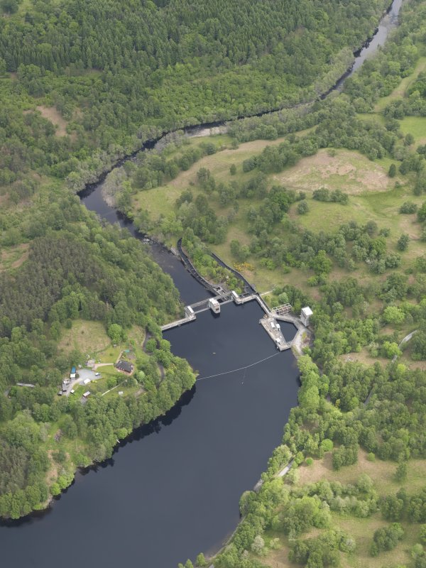 Oblique aerial view of Clunie Dam, taken from the SW.