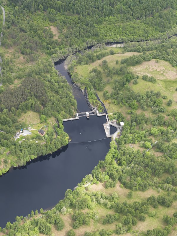 Oblique aerial view of Clunie Dam, taken from the SSW.