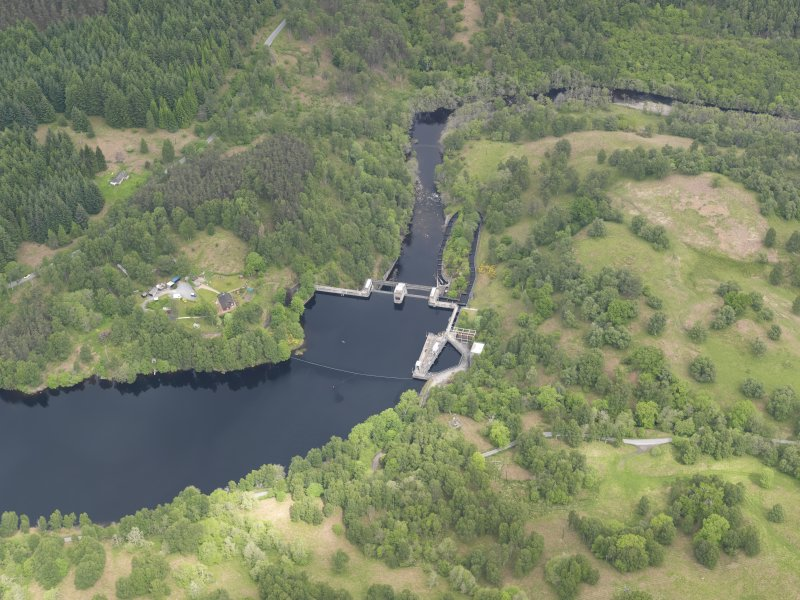 Oblique aerial view of Clunie Dam, taken from the S.