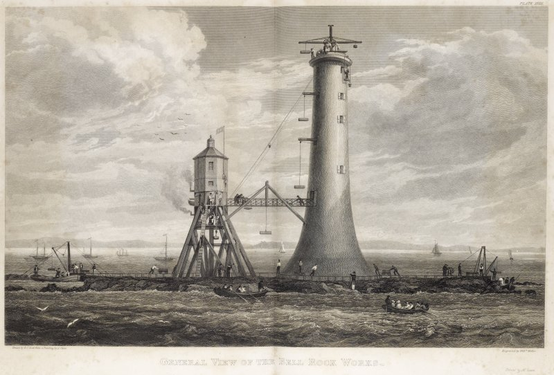 Engraving showing the construction of Bell Rock Lighthouse. Titled: ''General view of the Bell Rock Works''.