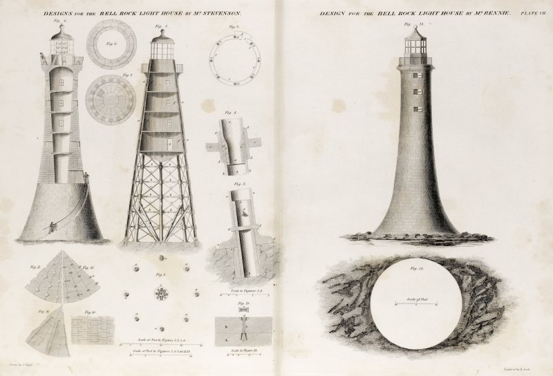 Engraving showing designs for the Bell Rock Lighthouse. Titled: ''Designs for the Bell Rock Light House by Mr Stevenson' and 'Designs for the Bell Rock Light House by Mr Rennie'.