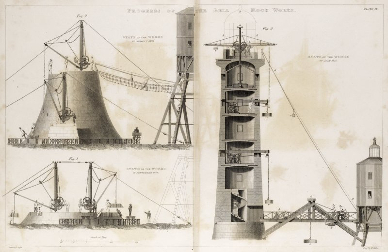 Engraving showing progress of the Bell Rock Lighthouse works. Titled: 'Progress of the Bell Rock Works'; 'State of the Works in August 1809'; 'State of the Works in September 1808' and 'State of the works in July 1810'.