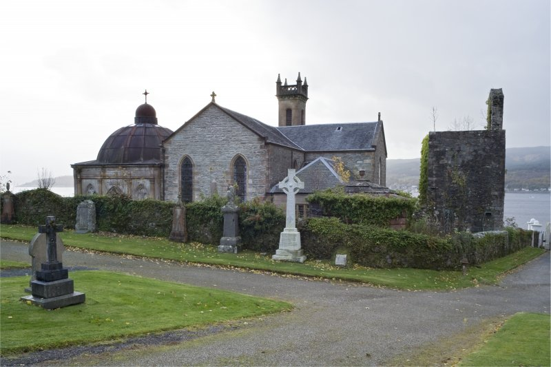 General view of St Munn's Church from the North. Also showing Argyll Mausoleum to the East and Collegiate Church of St Mun and Douglas of Glenfinart Mausoleum to the West.