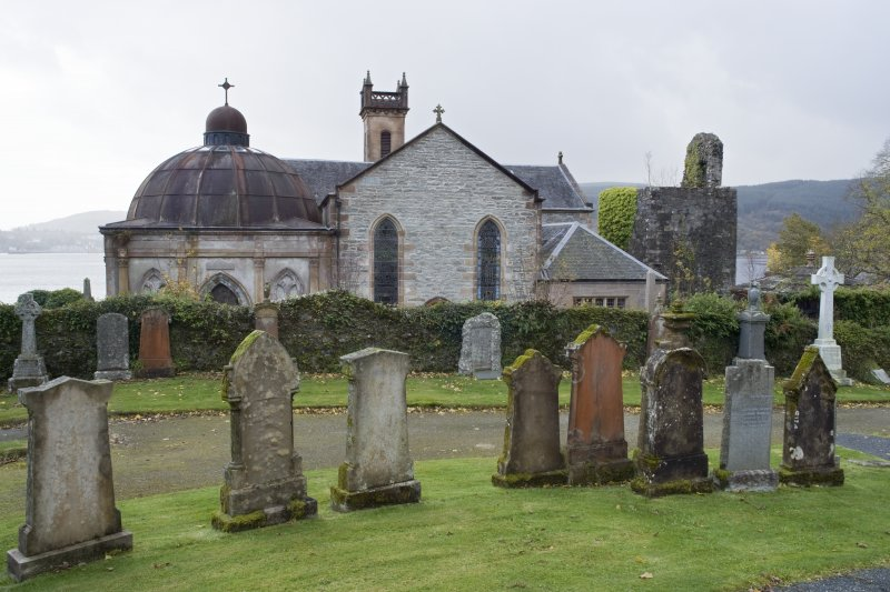 General view of St Munn's Church from the North (NNE). Also showing Argyll Mausoleum to the East and Collegiate Church of St Mun and Douglas of Glenfinart Mausoleum to the West.