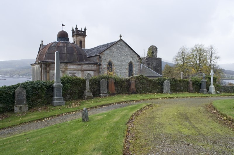 General view of St Munn's Church from the North-East. Also showing Argyll Mausoleum to the East and Collegiate Church of St Mun in the background to the West.