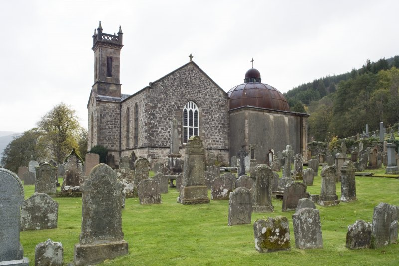 General view of Church of St Munn's, Argyll Mausoleum and Churchyard from South-East.
