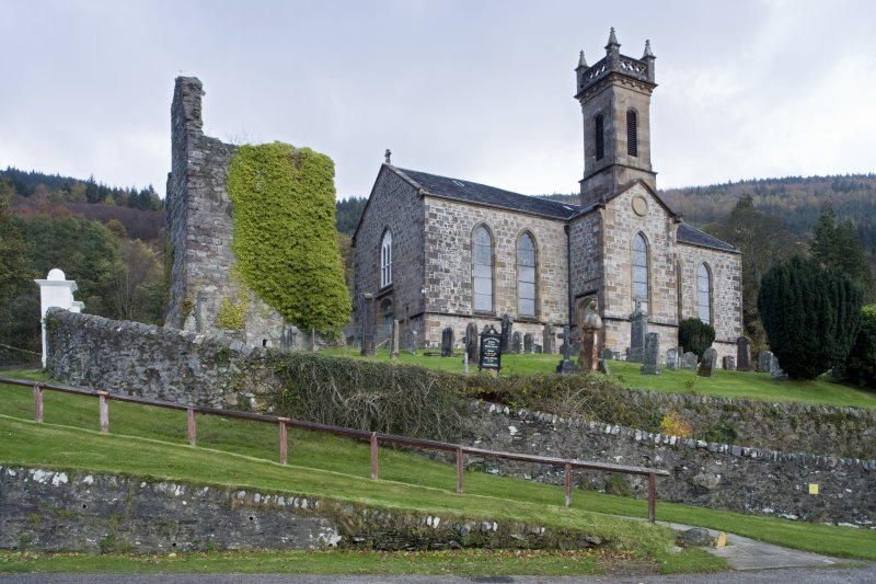 General view of Church of St Munn's and Collegiate Church of St Mun from South-West.