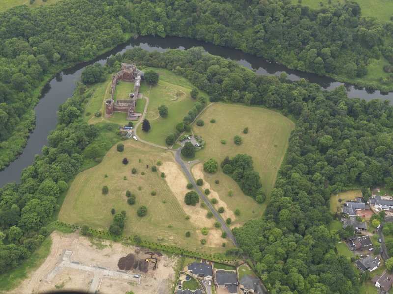 Oblique aerial view of Bothwell Castle, looking E.